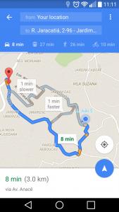GPS mostrando a rota